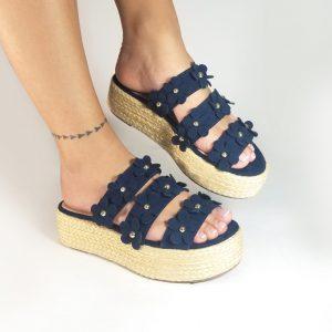 Plataforma yute CC301 en colores negro y azul.Zapatos Mujer. Calzado Espia, Fabricante de zapatos para Dama. Tienda virtual Colombia