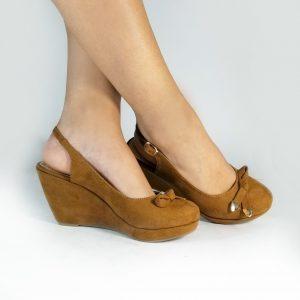 Plataforma semialta S696 en colores negro y miel.Zapatos Mujer. Calzado Espia, Fabricante de zapatos para Dama. Tienda online Colombia