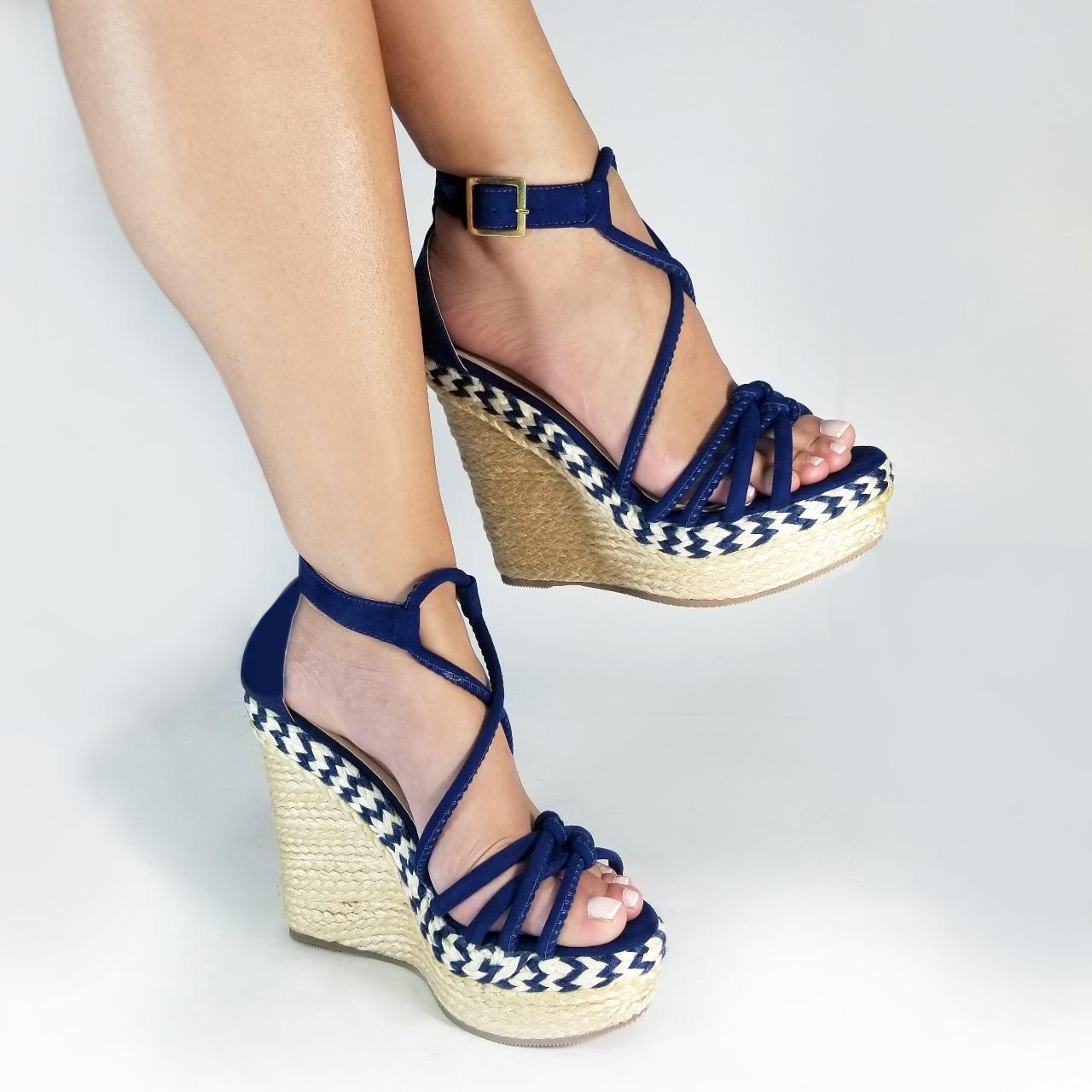 fotos oficiales 0f67d 36dce Zapatos plataforma mujer TC998 en colores blanco, azul y miel