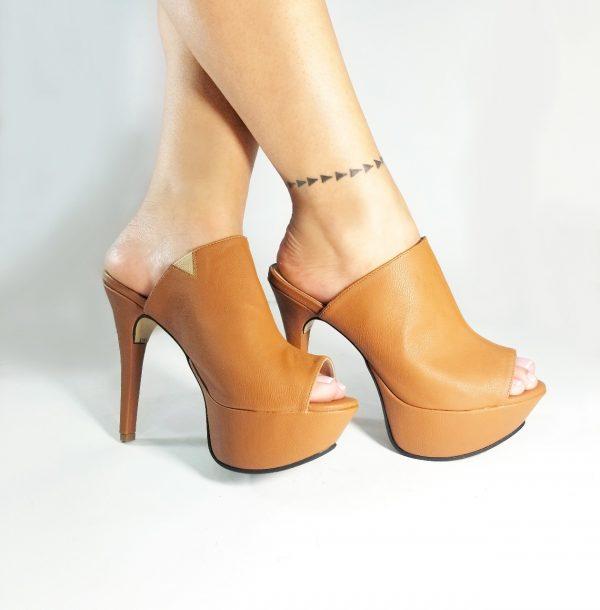 Tacones zuecos CK1680 en colores negro y miel.Zapatos Mujer. Calzado Espia, Fabricante de zapatos para Dama. Tienda virtual Colombia