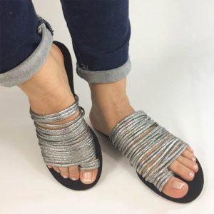 sandalias planas en colores nude y plata Zapatos Mujer. Calzado Espia, Fabricante de zapatos para Dama. Tienda virtual Colombia