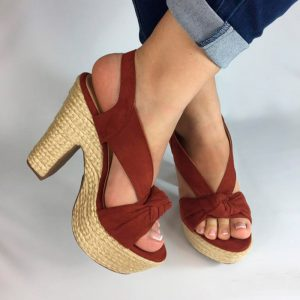 Sandalias tacón en yute o spadrilla en colores negro, azul, miel y terracota. Zapatos Mujer. Calzado Espia, Fabricante de zapatos para Mujer. Tienda virtual Colombia