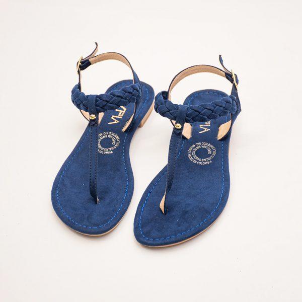 Sandalia dama V2875 en color negro, miel y azul